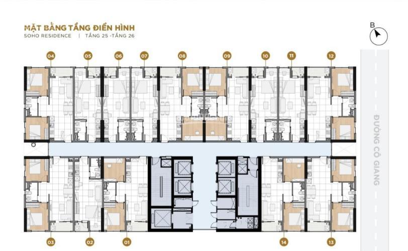 Căn hộ Soho Residence tầng cao view hồ bơi, nội thất cơ bản.