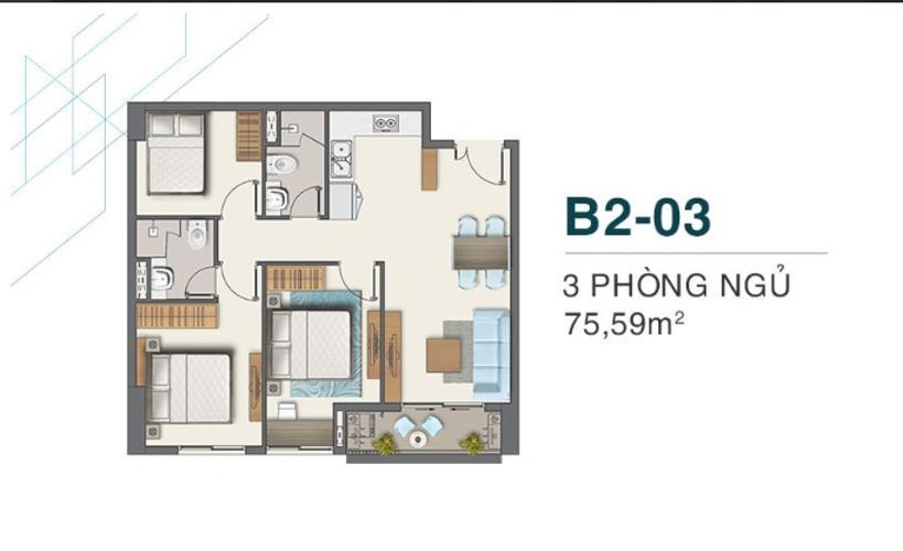 Căn hộ Q7 Boulevard diện tích 73.59m2, tầng thấp, ban công hướng Nam