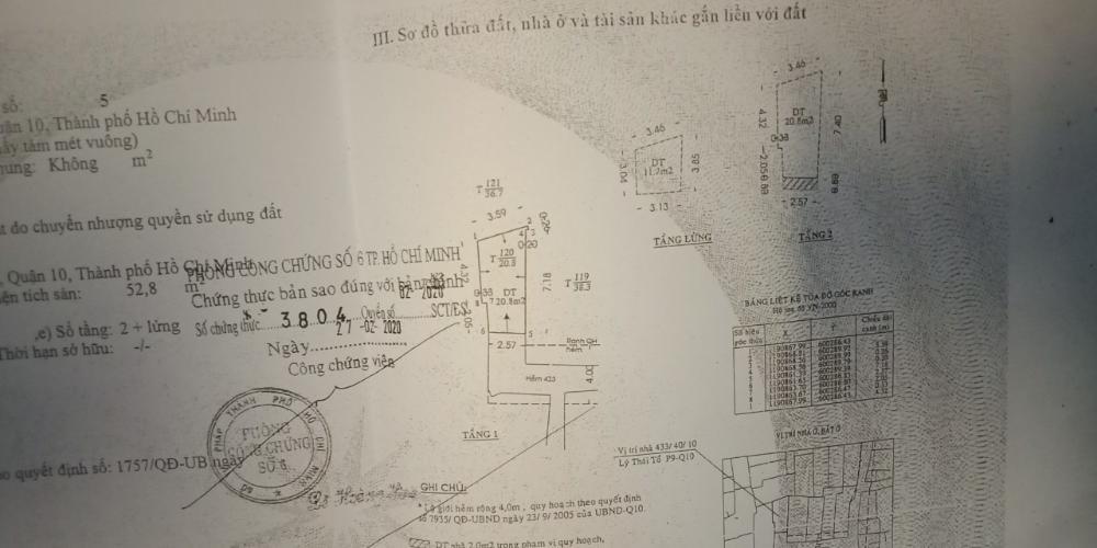 Thông tin bản vẽ nhà phố Nhà phố trung tâm Quận 10 hẻm xe máy, khu dân cư an ninh.