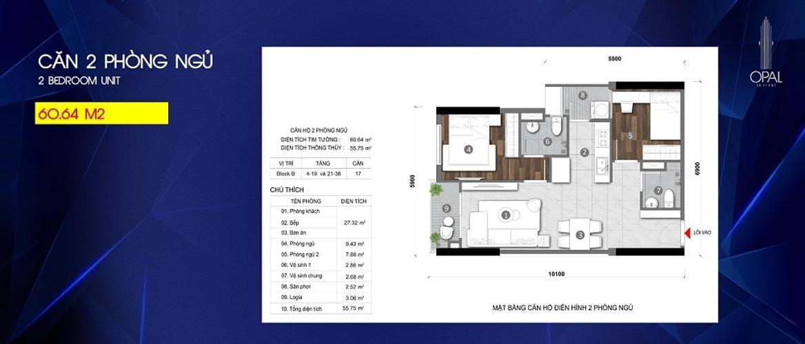 Căn hộ Opal Skyline tầng trung, nội thất mới tinh.