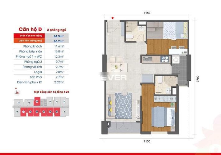 Căn hộ West Intela tầng 7, nội thất cơ bản, 2 phòng ngủ.