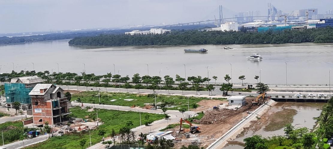 View từ ban công căn hộ Diamond Island Căn hộ 1 phòng ngủ Đảo Kim Cương view ngắm thành phố.