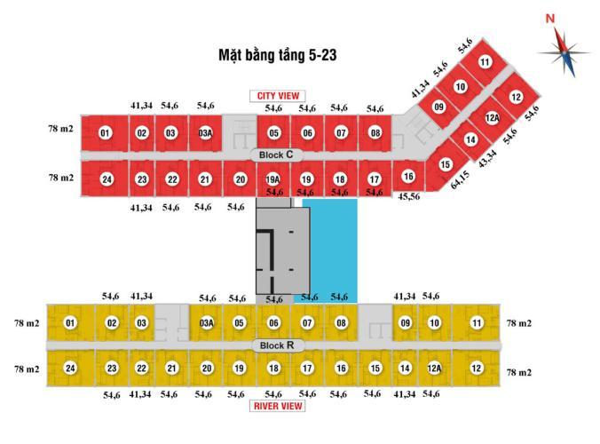 Layout Saigon Intela, Bình Chánh Căn hộ tầng trung Saigon Intela nội thất cơ bản.