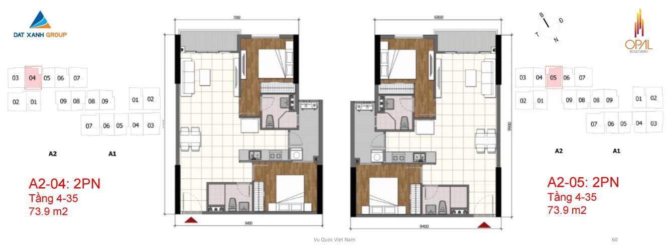 Căn hộ tầng 18 Opal Boulevard 2 phòng ngủ mát mẻ