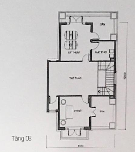 mặt bằng tầng 3 Biệt thự Vinhomes Golden River diện tích 225m2, không nội thất.