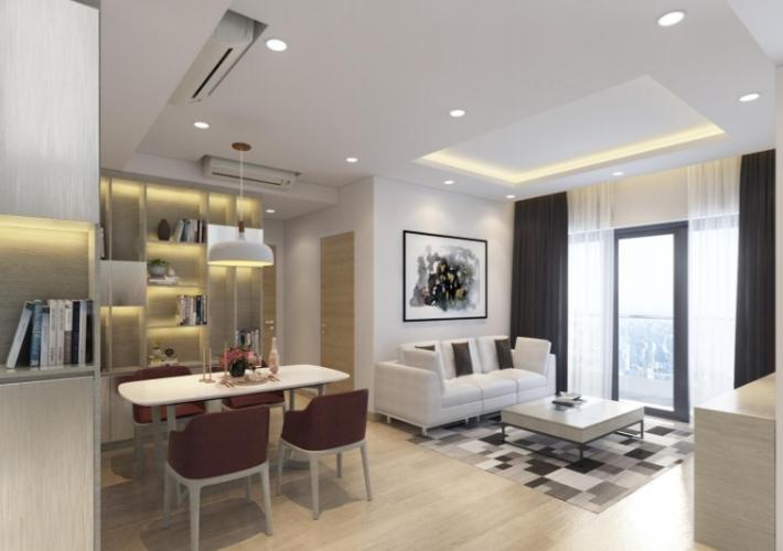 Phòng khách căn hộ Riviera Point Căn hộ tầng 12 Riviera Point sàn gỗ, view thành phố thành phố sầm uất.