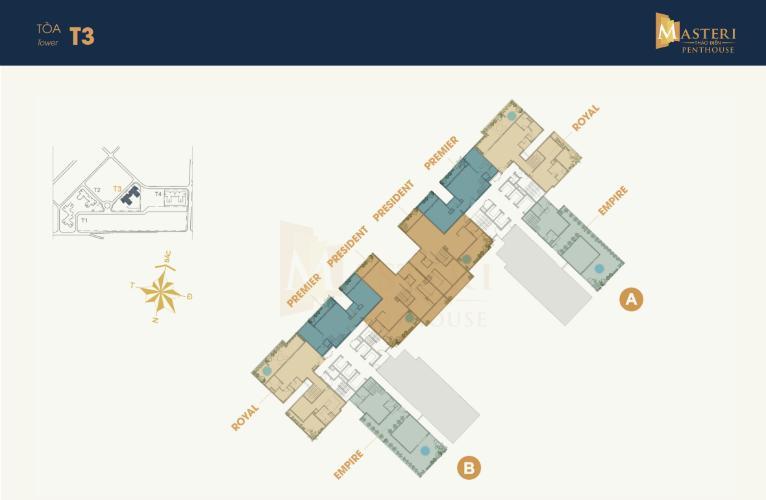 Layout Penthouse Masteri Thảo Điền , Quận 2 Penthouse Masteri Thảo Điền ban công Đông Nam view thoáng mát.