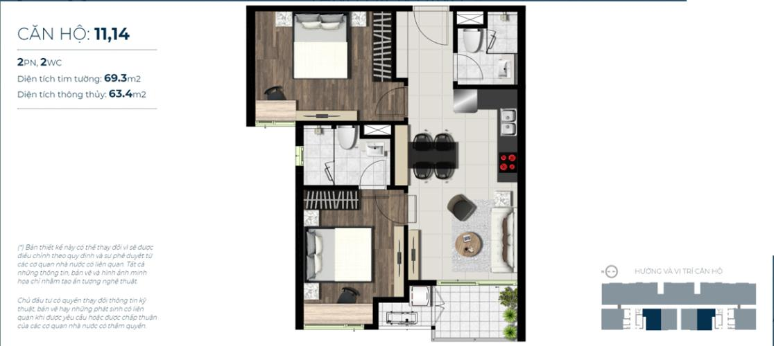 Căn hộ tầng trung Sky 89 An Gia hướng Tây, nội thất cơ bản.
