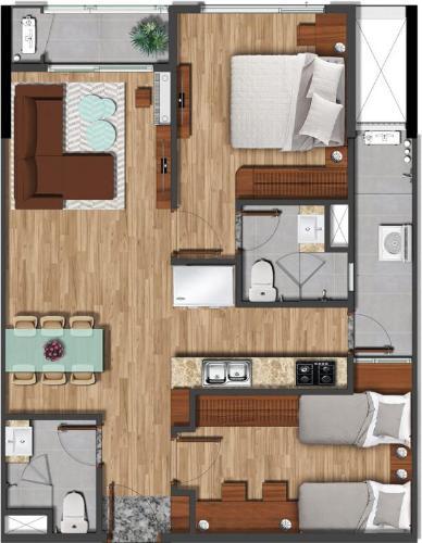Căn hộ Akari City có 2 phòng ngủ đón view thoáng mát, nội thất cơ bản.