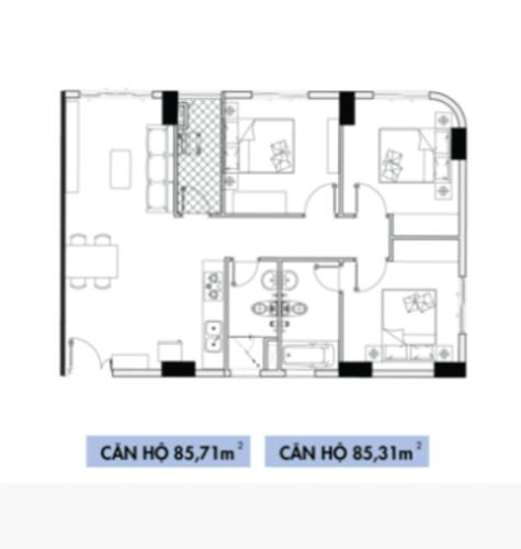 Căn hộ 3 phòng ngủ Topaz Elite tầng 16, không có nội thất.