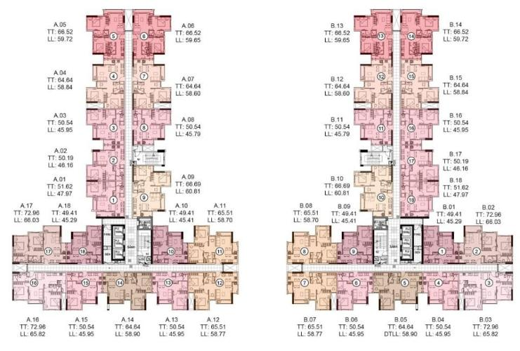 Layout Conic Riverside, Quận 8 Căn hộ Conic Riverside hướng Đông, nội thất cơ bản.