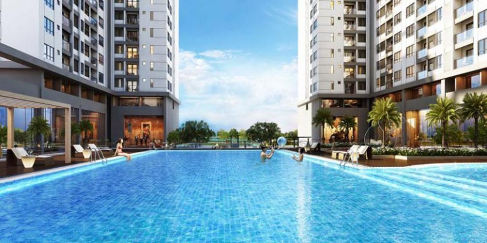 Hồ bơi Q7 Saigon Riverside Căn hộ Q7 Saigon Riverside, tầng trung, thiết kế hiện đại.