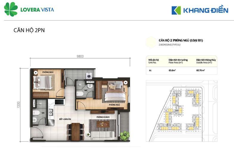 Căn hộ Lovera Vista tầng thấp gồm 2 phòng ngủ, cửa hướng Tây Bắc.