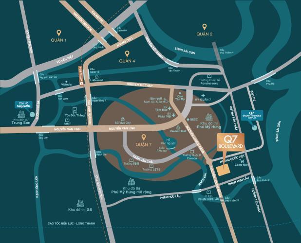 Vị trí dự án Q7 Boulevard Bán căn hộ Q7 Boulevard, tầng trung, 2 phòng ngủ, diện tích 56.98m2, ban công hướng Nam