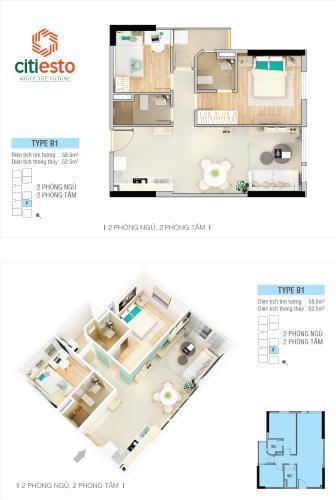 Căn hộ tầng 5 Citi Esto cửa hướng Đông Bắc, nội thất cơ bản.