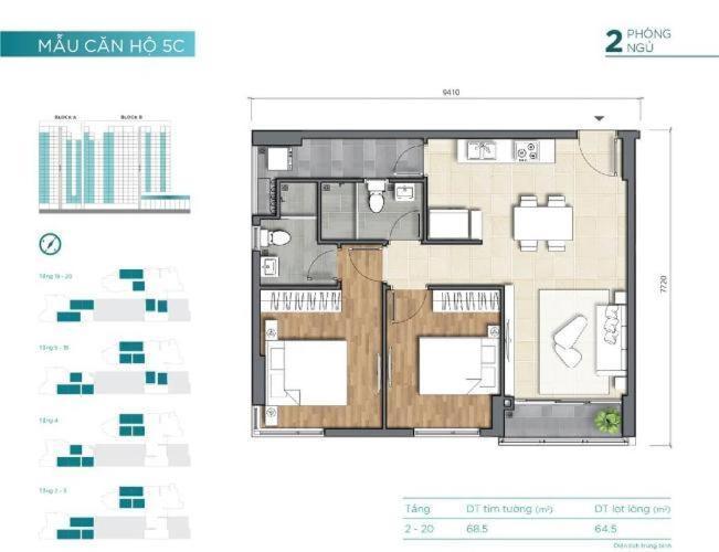 Căn hộ chung cư D'Lusso nội thất cơ bản, ban công hướng Tây Bắc.