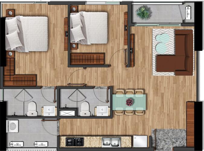 Căn hộ tầng cao Akari City nội thất cơ bản, view căn hộ mát mẻ.
