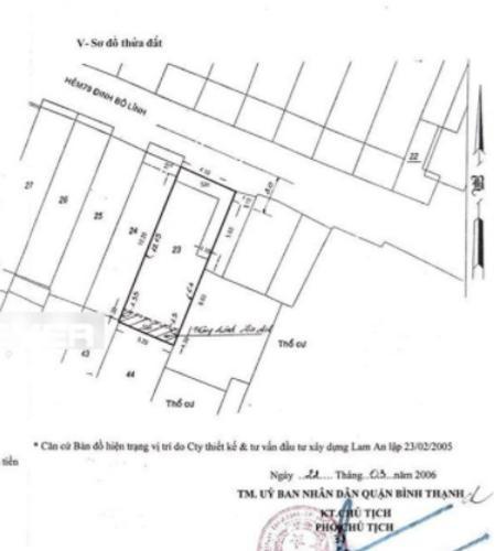 Mặt bằng Nhà hẻm Đinh Bộ Lĩnh, Bình Thạnh Nhà phố hẻm xe hơi đường Đinh Bộ Lĩnh, pháp lý rõ ràng
