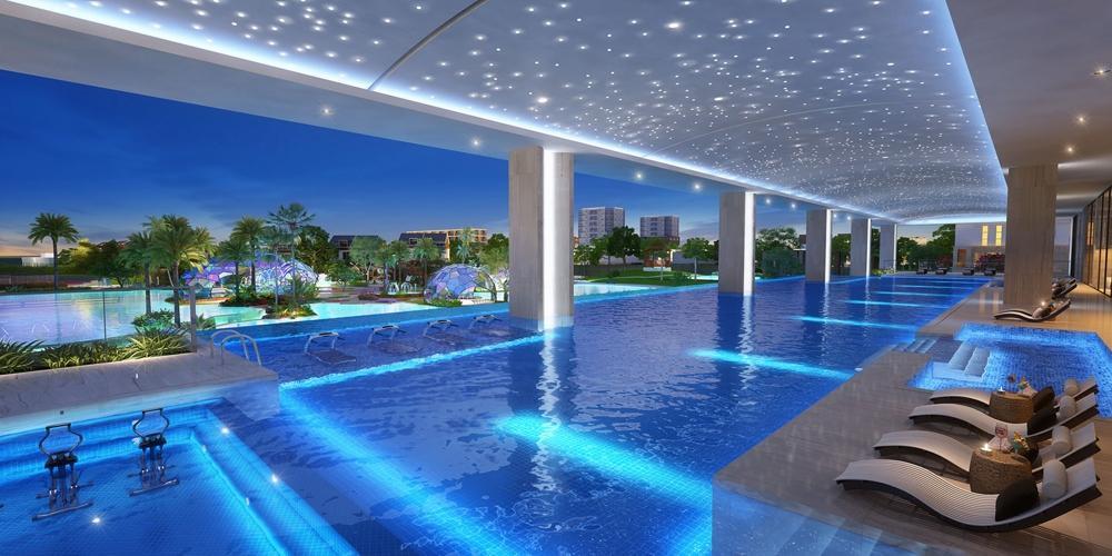Nội khu hồ bơi River Panorama Căn hộ River Panorama tầng thấp, view thành phố.