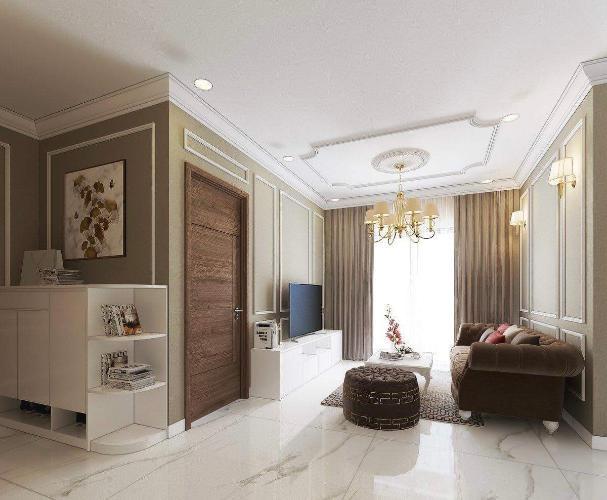phòng khách căn hộ Eco Green Sài Gòn Căn hộ Eco Green Saigon đầy đủ nội thất, ban công thoáng gió