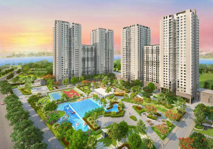 Building dự án Căn hộ Saigon South Residence tầng trung ban công hướng Nam đón gió