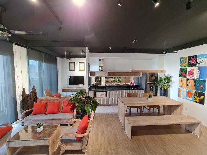 Căn hộ Palm Heights tầng 9 nội thất gỗ hiện đại đầy đủ, thiết kế sang trọng.