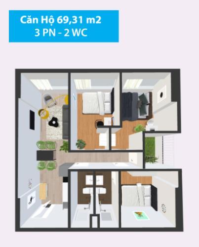 Mặt bằng căn hộ Căn hộ Topaz Home 2 tầng thấp, bàn giao nội thất cơ bản.