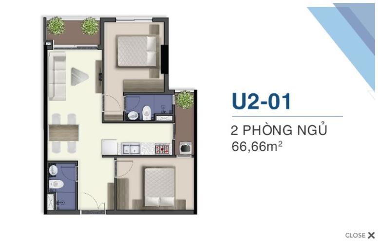 Bán căn hộ 2 phòng ngủ Q7 Saigon Riverside tầng cao góc nhìn đẹp, diện tích 66.6m2, thiết kế hiện đại đi kèm nội thất cơ bản