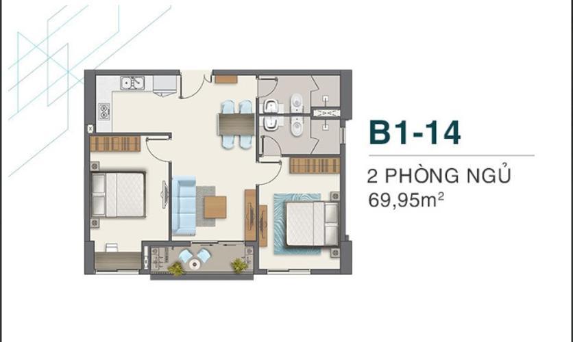 Bán căn hộ Q7 Boulevard diện tích 69.95 m2, 2 phòng ngủ và 2 toilet, ban công hướng Nam.