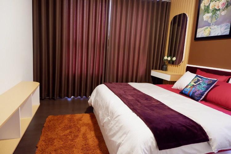 phòng ngủ căn hộ The Sun Căn hộ The Sun Avenue đầy đủ nội thất, view Landmark 81.