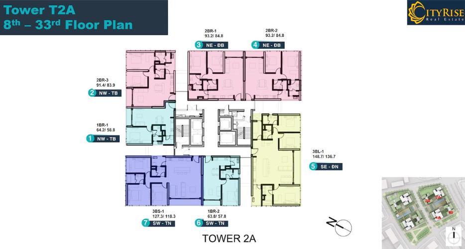 Layout căn hộ Empire City, Quận 2 Căn hộ Empire City tầng 31 view đón gió thoáng mát, tiện ích đầy đủ.