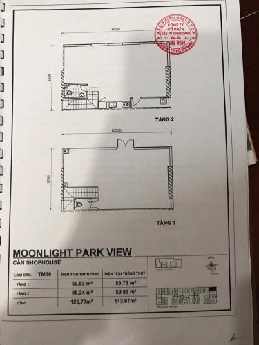 shophouse MoonLight Park View Shophouse MoonLight Park View diện tích 125.77m2