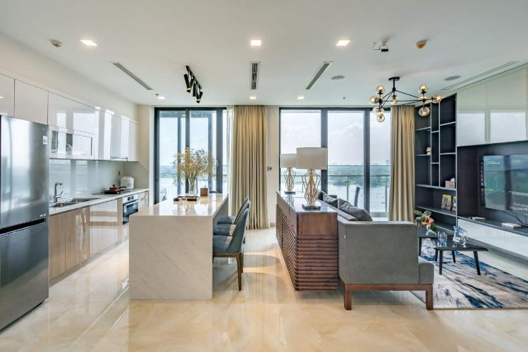 Phòng khách căn hộ Vinhomes Golden River Cho thuê căn hộ Vinhomes Golden River 3PN, đầy đủ nội thất, căn góc, view sông và Bitexco