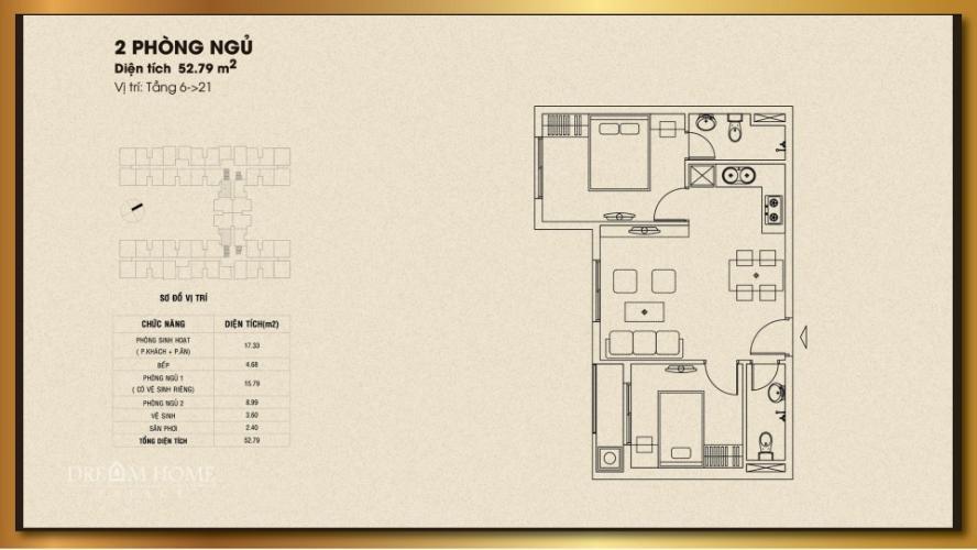 Căn hộ Dream Home Residence tầng 14, cửa hướng Nam.