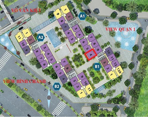 Layout City Gate  Căn hộ City Gate tầng trung, view nội khu hồ bơi.