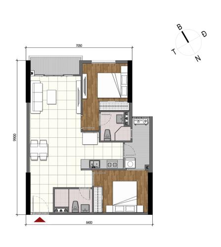 Căn hộ chung cư Opal Boulevard tầng cao, nội thất cơ bản.