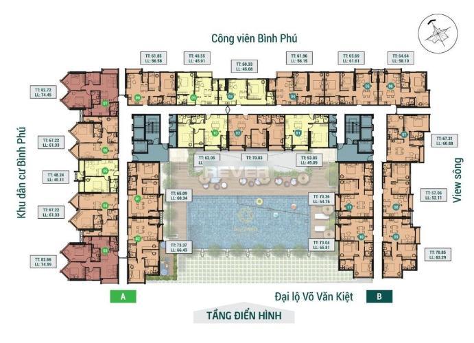 Căn hộ Asiana Capella tầng 12 ban công hướng Đông Bắc, nội thất cơ bản.