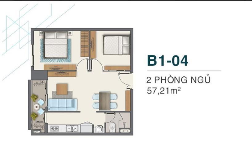 Bán căn hộ Q7 Boulevard diện tích 57.21 m2, 2 phòng ngủ và 1 toilet, ban công hướng Tây.