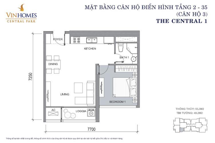 Mặt bằng căn hộ 1 phòng ngủ Căn hộ Vinhomes Central Park tầng cao Central 1 đầy đủ tiện nghi