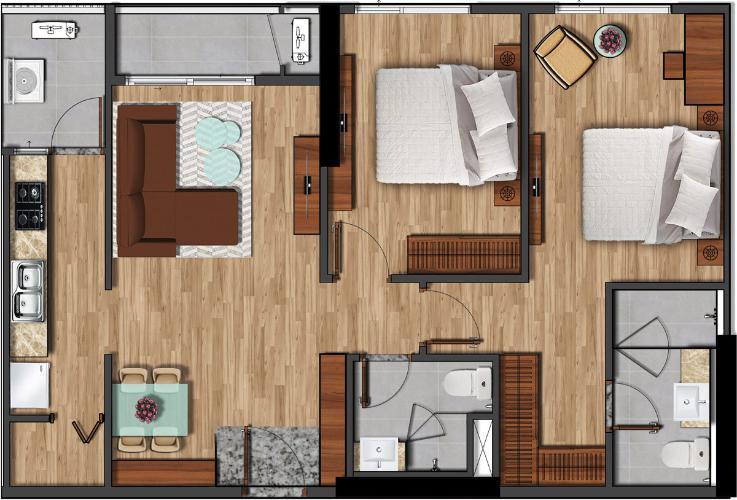 Căn hộ Akari City tầng trung, nội thất cơ bản chủ đầu tư.