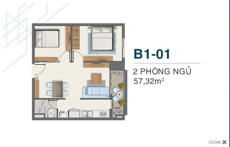 Bán căn hộ Q7 Boulevard diện tích 57.32m2, kết cấu gồm 2 phòng ngủ và 1 toilet. Ban công hướng Đông