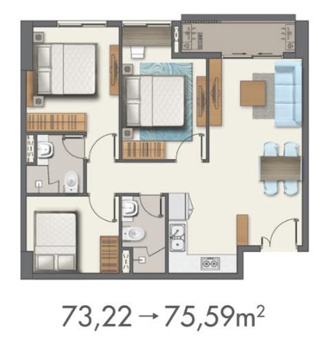 Căn hộ Q7 Boulevard 3 phòng ngủ, bàn giao nội thất cơ bản.