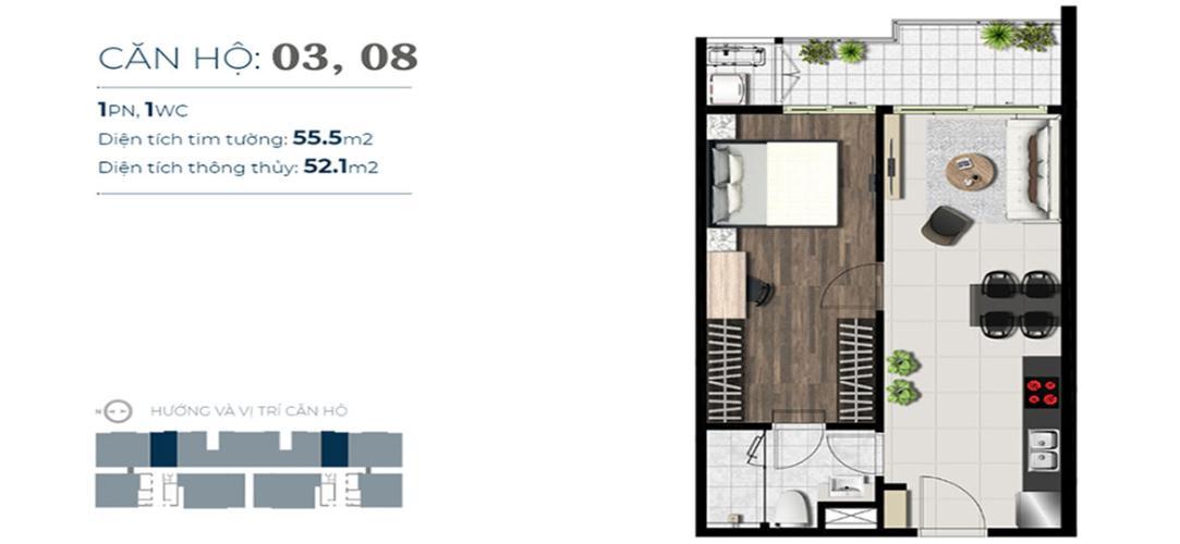 layout căn hộ Sky89 Căn hộ tầng 03 Sky 89 ban công hướng Đông thoáng đãng