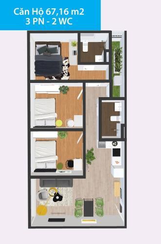 Căn hộ Topaz Home 2 tầng 6 có 3 phòng ngủ, nội thất cơ bản.