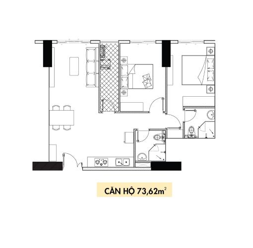 Căn hộ tầng 4 Topaz Elite thiết kế kỹ lưỡng, nội thất cơ bản.