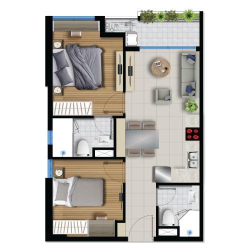 Mặt bằng bố trí căn hộ Căn hộ River Panorama nội thất cơ bản, view tầng cao đón gió mát.