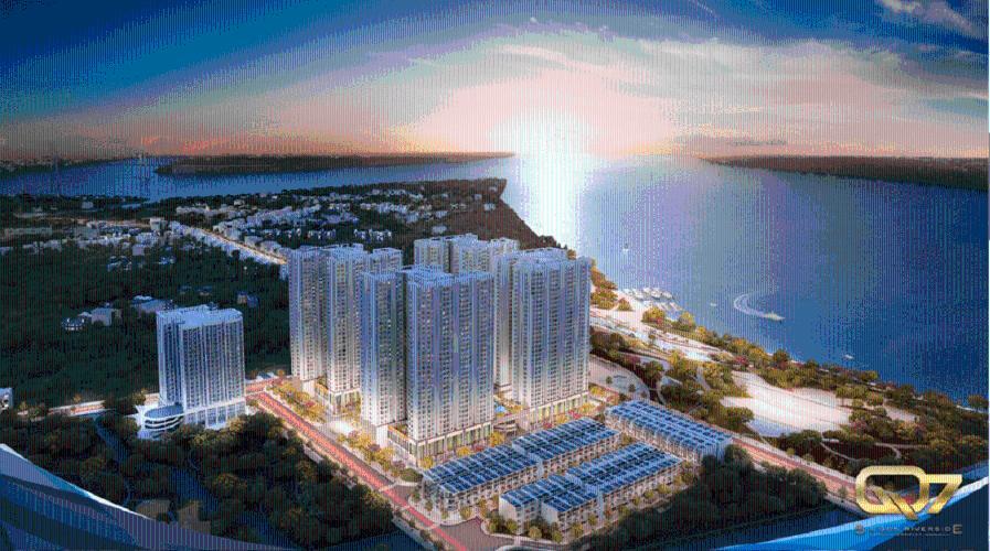 tổng quan Q7 Saigon Riverside Căn hộ Q7 Saigon Riverside tầng cao, ban công hướng Tây.