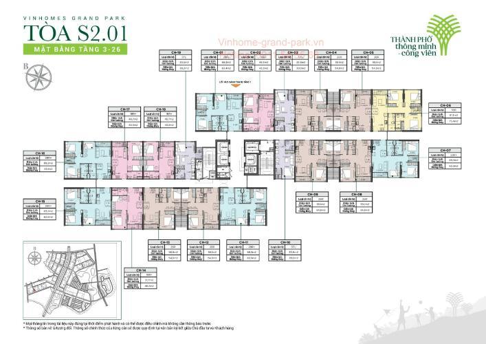 layout tháp S2.01 dự án Vinhomes Grand Park quận 9 Căn hộ Vinhomes Grand Park tầng thấp, không kèm nội thất.