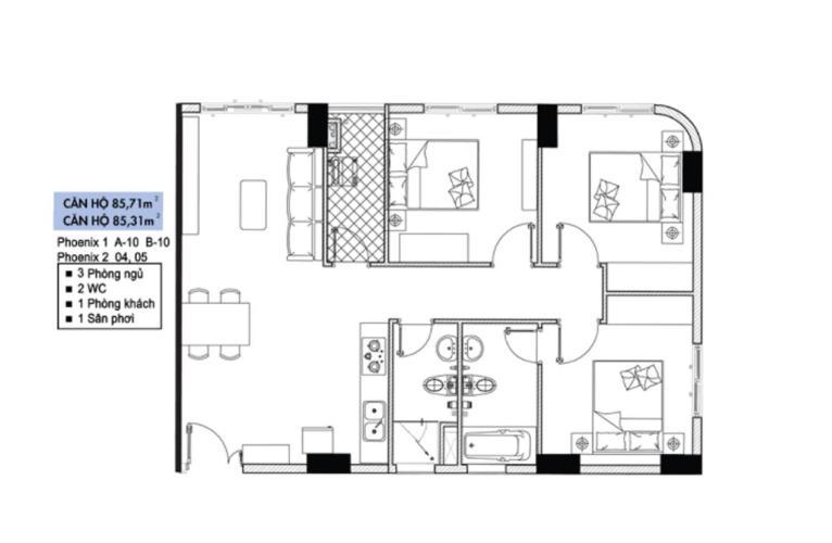 Layout căn hộ Topaz Elite, Quận 8 Căn hộ tầng 4 Topaz Elite có 3 phòng ngủ, không có nội thất.
