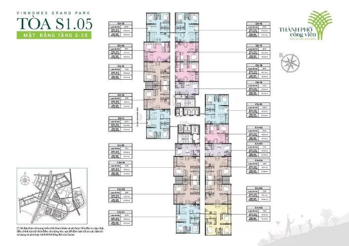 layout tháp S1.05 dự án Vinhome Grand park quận 9 Căn hộ Vinhomes Grand Park tầng trung, hướng view Đông Nam.